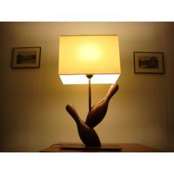 Lampes bois 2 quilles Abajour crème forme rectangulaire
